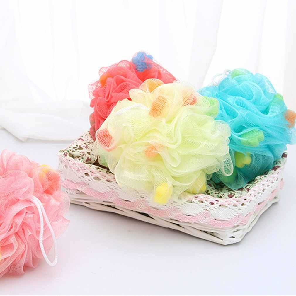 Esponja de baño esponja de ducha esponja de esponja exfoliante cepillo de malla PUF baño Bola de ducha esponja colorida Bola de limpieza exfoliante