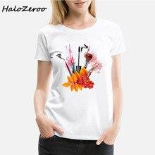 Summer Tops 2018 Casual T shirt Women Perfume Lipstick T-Shirt Woman O-Neck  White Tee Shirt Femme