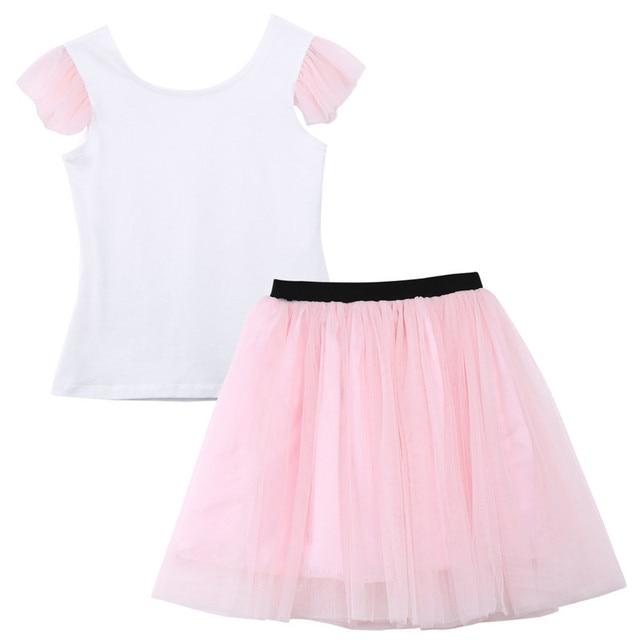 2020 Lovely Short Sleeve T-shirt TuTu Skirt 2pcs Mother Daughter Dresses Cotton Summer Clothes Family Kids Parent Child Outfits 4