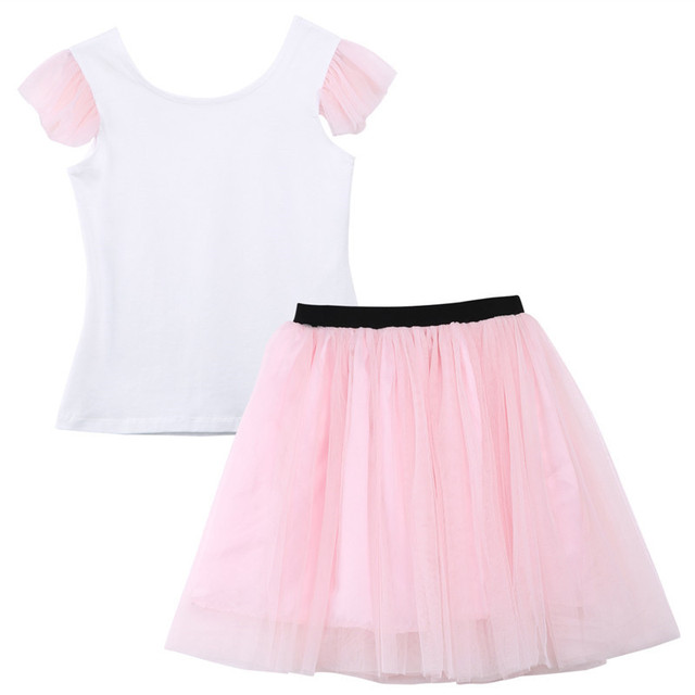 2019 Lovely Short Sleeve T-shirt TuTu Skirt 2pcs Mother Daughter Dresses Cotton Summer Clothes Family Kids Parent Child Outfits 3