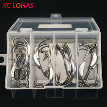25 Pcs/box High Strength Lead Fishhooks Offset Fishing Hook with Soft Worm Spring Lock Pin Fishing Accessories Tackle Box