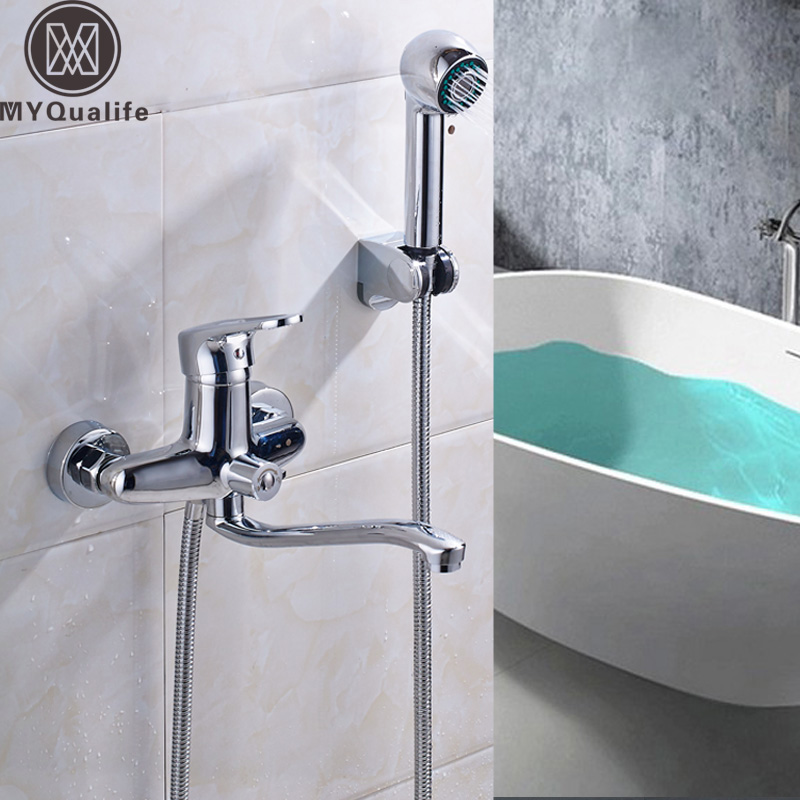 Polished Chrome In Wall Bathroom Tub Mixer Faucet Single Lever 25cm Long Nose Spout Bathtub Shower Hot and Cold Taps polished chrome double cross handles wall mounted bathroom clawfoot bathtub tub faucet mixer tap w hand shower atf902