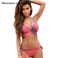 Minimalism Le Gradient Bikini 2017 Cross Bandage Women Swimwear Vrouwen Badpak Push Up Badmode Biquini Bathing