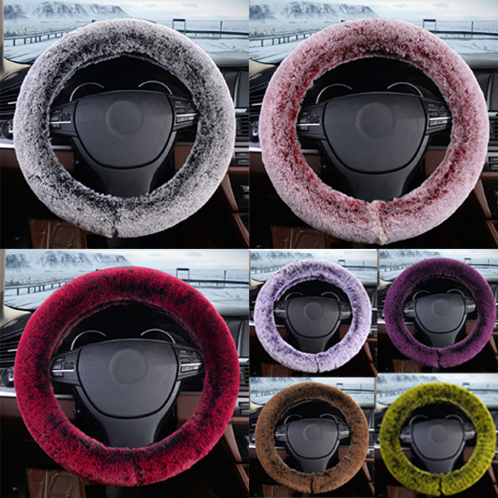 Warm Steering Covers Car-styling Plush Warm Steering Wheel Cover Artificial Rabbit Fur Handbrake Car Accessories