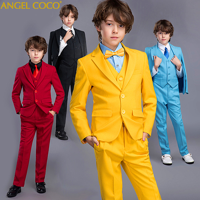 Blue Red Suit Blazer For Boy Single Breasted Boys Suits For Weddings Costume Enfant Garcon Mariage Boys Blazer Jogging Garcon color block splicing single breasted plus size thicken blazer page 2