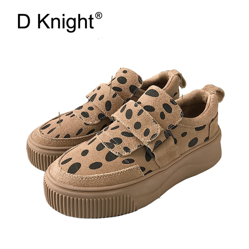Korean Women Creepers 2018 Autumn Wnter New Ladies Harajuku Thick-soled Platform Shoes Leather Leopard Casual Shoes INS Sneakers creepers women shoes black white striped shoes female casual flat platform shoes round toe thick soled ladies shoes