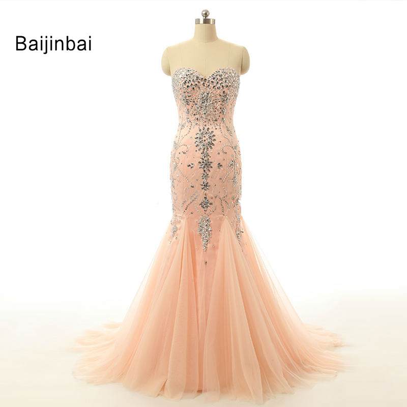 Luxurious New Arrival Mermaid Evening Dresses 2015 Floor Length Robe De Soiree Crystal Sleeveless Wedding Party