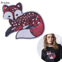 Prajna Cute Fox Stickers Sequined Iron on Patch Animal DIY Patches for Clothes Accessory Sewing Perfume Sequins Applique Decor F