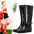 2017 New Design Classic PVC Rainboots Women Casual Waterproof Boots Female Solid Color High Tube Water Shoes with Buckle