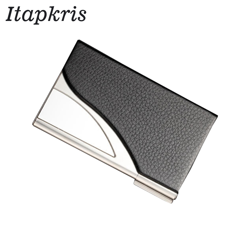 Itapkris Credit Card Holder Cover Men Leather Aluminum ID Card Case Slim Business Card Holder Blocking Bank Credit Card Wallet fashion pu leather business card holder for man aluminum bank credit card case protection rfid blocking organizer