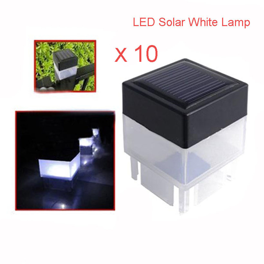 10pcs Led Solar Powered Fence Post Cap Light Outdoor