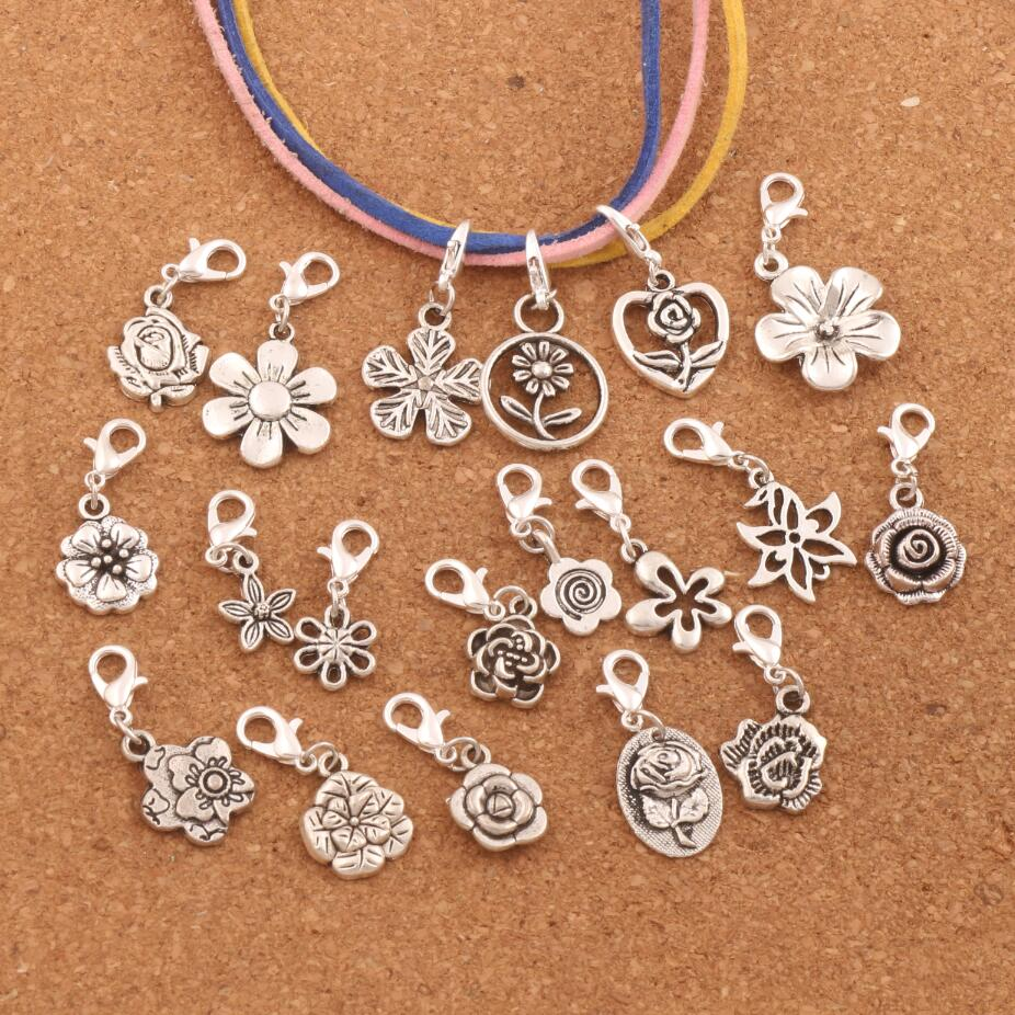 19PCS mix Flower Metal Charm Bead 19styles Floating Lobster Claw Clasp Beads CM55