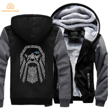 HAMPSON LANQE Odin Vikings Fashion Mens Hoodie 2019 Spring Winter Casual Sweatshirts Men Thicken Zipper Hoodies Plus Size Jacket