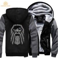 HAMPSON LANQE Odin Vikings Fashion Mens Hoodie 2018 Spring Winter Casual Sweatshirts Men Thicken Zipper Hoodies