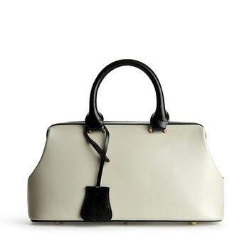 High Quality Ladies Real Leather Bag Vintage Fashion Classic Doctor Bag Genuine Leather Bag Famous Brand Designer Women Handbags