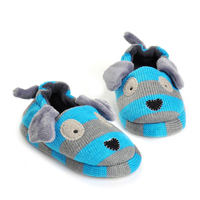 Kids Slippers Winter Warm Children Shoes For Boys Todller Girl Cartoon Puppy Knitted Rubber Sole Home