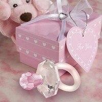 10 pcs de Cristal Chupeta Azul/Rosa Festa de Aniversário de Casamento Presentes Do Chuveiro de Bebê Favor Lembranças Embaladas Com Caixa