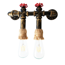 Loft vintage nostalgic Double Heads E27 wall lamp antique iron Water pipe wall light For aisle corridor balcony cafe decoration antique rustic iron waterproof outdoor wall lamp vintage kerosene lantern light rusty matte black corridor hallway wall light