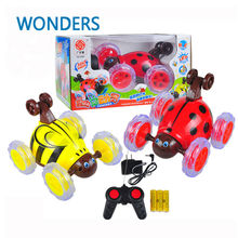 Cute toy ladybird or honeybee Remote Control 360 Degrees Roll RC recharge Electric music RC Stunt Dancing Drift Model kids gift