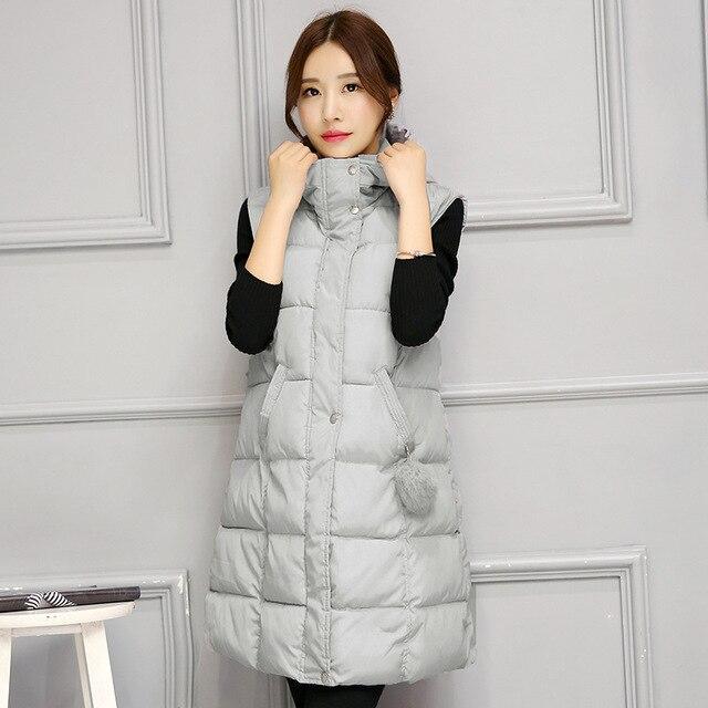 Women Winter Vest Waistcoat 2016 Womens Long Vest Sleeveless Jacket Collar Hooded Down Cotton Warm Vest Female Y1027-72F