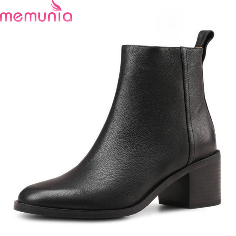 MEMUNIA 2018 top quality genuine leather boots women square toe warm ankle boots autumn winter high heels shoes woman black цены онлайн