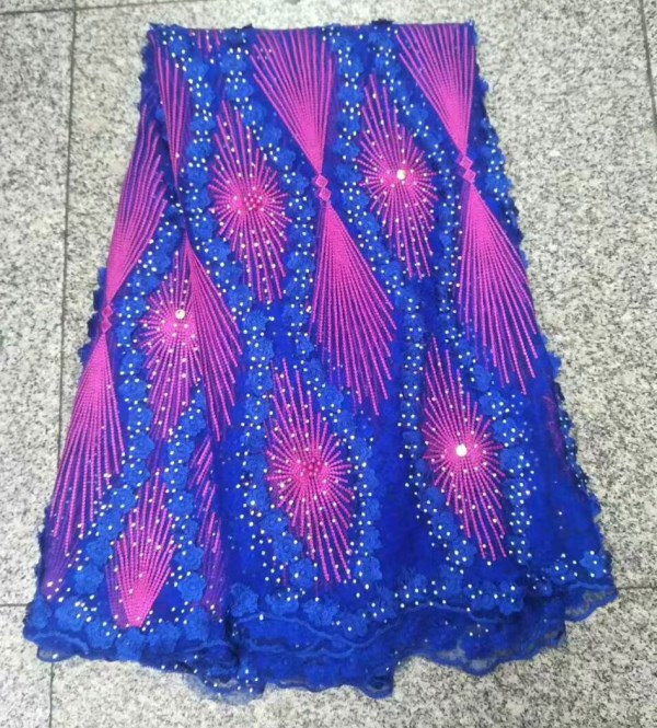 New Design blue pink African Lace Fabrics High Quality French Lace Fabric For Party Dress Nigerian Beaded Lace Fabric w8 20