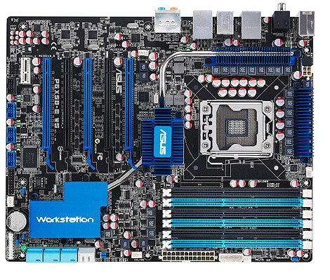 original P6X58-E WS 1366pin X58 workstation large board, support SLI <font><b>X5670</b></font> SATA3 90%new image
