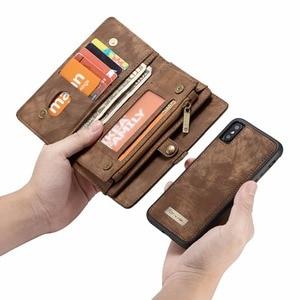 Image 2 - CaseMe lüks deri manyetik 2in1 deri kılıf iPhone12 Pro Max X 8 8 artı 7 7 artı 6 6s artı fermuar çevirme çanta cüzdan kılıf