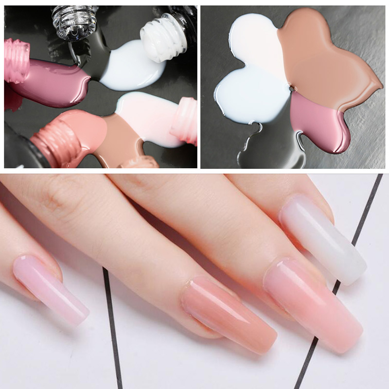 MIZHSE 10ml Extension Gelpolish Clear Pink Nude Nail Tips UV Builder Gel Soak Off Lacquer Nail Varnishes Manicure removal in Nail Gel from Beauty Health