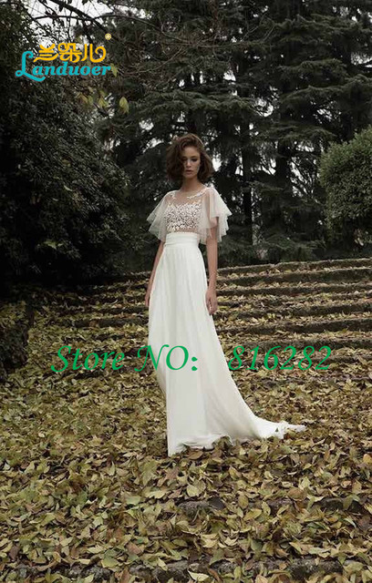 5db060735 Vestido De boda De Boho 2016 with rebordear gasa larga Beach Wedding Dress  Vestido De Noiva
