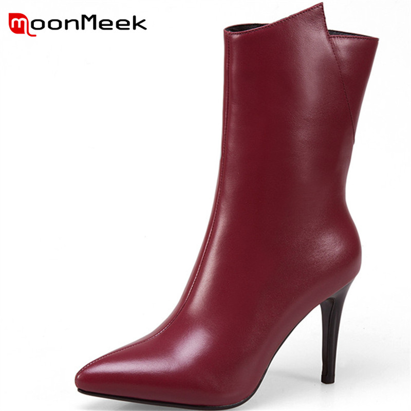 MoonMeek new arrive autumn winter women boots hot sale thin knee high boots big size shoes ladies popular genuine leather boots цена 2017