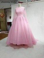 Bling Bling Dubai Kaftan Long Pink Evening Dresses With Long Sleeves O Neck Saudi Arabia Women Formal Party Gowns Abendkleider