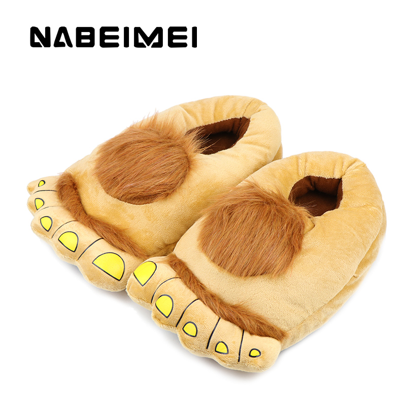 Bear funny slippers woman's warm shoes 2017 new arrival plush solid women indoor flat with winter shoes big size 36-43 warm plush big feet pattern fully wrapped indoor slippers for winter