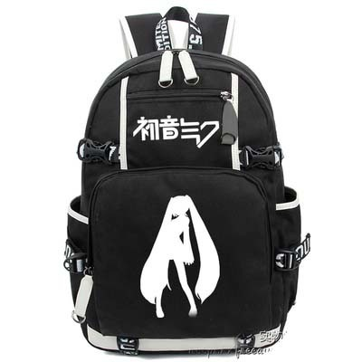 2017 New VOCALOID Hatsune Miku Luminous Backpack Cosplay Anime Student School bag Bookbag Travel Shoulder Laptop Bags packsack free shipping vocaloid hatsume miku short green anime cosplay wig 2 x ponytails
