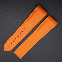 Naranja negro 20mm 22mm NUEVO correas Pulseras extremo Curvo Para Marca de Relojes Deportivos de Buceo bandas Caucho De Silicón Venda de reloj de la Promoción