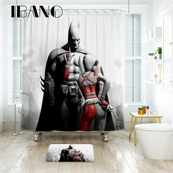 IBANO Marvel Batman Shower Curtain Waterproof Polyester Fabric Bath For The Bathroom With 12 pcs Plastic Hooks Floor Mat