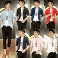 Free shipping new 2016 summer slim fit half sleeve casual blazer men outerwear solid color one button thin suits for men /XF2