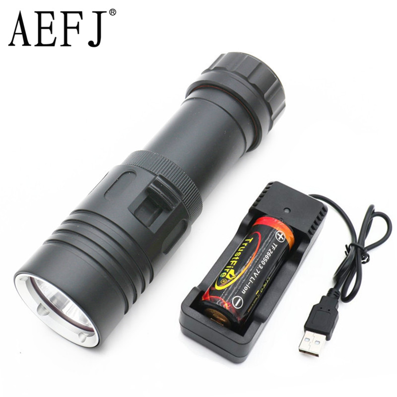Led Flashlights 1200lm Xm-l2 Led Diving Flashlight Underwater Rechargeable Dive Lamp Torch Waterproof Lanterna 4x 18650 Battery+charger