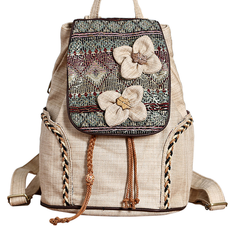 Nationally Backpack Female Backpack School Bag For Girls Vintage Bagapck Weave Rucksack Ladies Mochila Feminina Travel Bag New