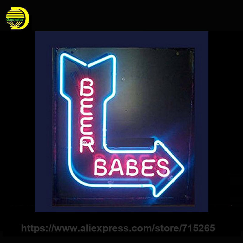 BEER BABES Neon Sign Decorate Glass Tube Neon Bulbs Recreation Room Home Handcraft Indoor Frame Sign Store Display 17x14