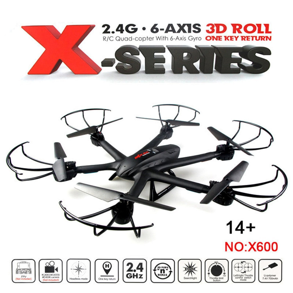MJX X600 4CH 6-Axis 360 Flips One-key-return 2.4GHz RC Quadcopter Drone w Mode Support FPV Camera RTF original jjrc h36 rc drone 2 4g 4ch 6 axis gyro rtf quadcopter 3d flip headless mode one key return anti crush ufo mini drones