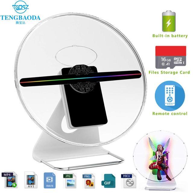 TBDSZ 30cm 3D פרסום הולוגרמה מאוורר מקרן אור תצוגה הולוגרפית נטענת שולחן העבודה הולוגרמה 16GB 256 LED מנורת חרוזים