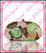Aidocrystal handmade brown flower pattern fancy  ladies bag for banquet