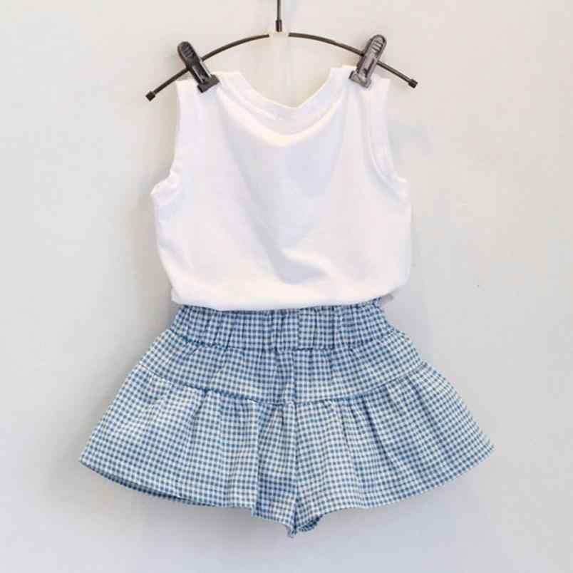 baby girl summer children clothing manufacturers china supply Cute Bow Girl  Pattern Shirt Top Grid Shorts Set Dropshipping saia