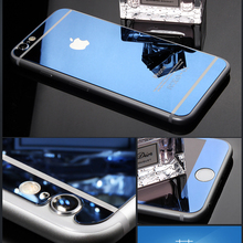 USA stock 0.3mm Tempered Glass Front and Back Film Screen Protector Mirror Face For iSE 5S iPhone 6 6s 4.7/ 6plus 5.5 inch