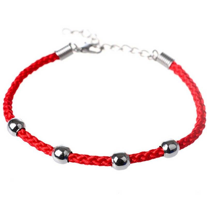 Nuevo LNRRABC 1 Pza moda étnica delicada cadena aleación cuentas mujeres hombres pulseras moda joyería Rojo Negro pulseras