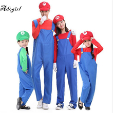 Adogirl Funny Family Matching Outfits Cosplay Costume Super Mario Brothers Deluxe Luigi Costume Fancy Dress Up Party Cute Costum
