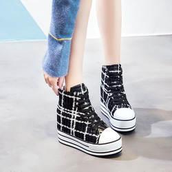 Сникерсы на платформе, женская повседневная обувь, schoenen vrouw ulzzang, женская обувь на танкетке 2018, Высокие сникерсы, увеличивающие рост 2018