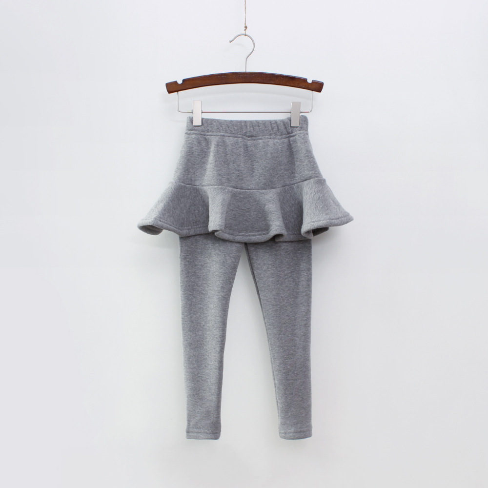 Г. Однотонные штаны для девочек детские леггинсы От 2 до 10 лет одежда для детей осенние хлопковые леггинсы теплая юбка-брюки для маленьких девочек, высокое качество - Цвет: Gray