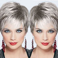 Short Synthetic Gery Hair Wigs Female Short Gray Wig Synthetic African American Short Wigs For Black Women High Quality Wigs